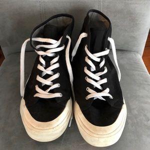 Men's fabric high top sneakers in black.